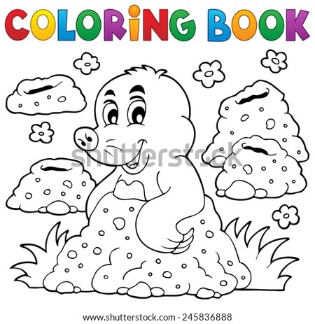 Coloring book with happy mole theme 1 - eps10 vector illustration. - stock vector