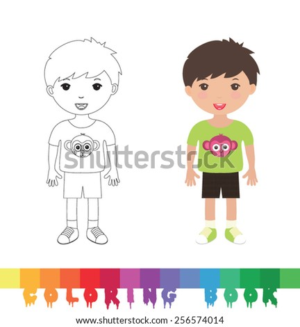 Coloring book with kid - vector illustration. - stock vector