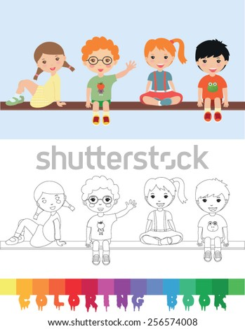 Coloring book with kids - vector illustration. - stock vector