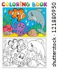 Coloring book with marine animals 6 - vector illustration. - stock photo
