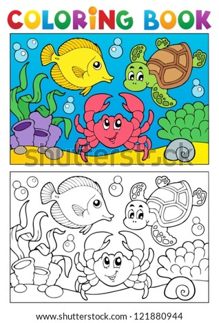 Coloring book with marine animals 5 - vector illustration. - stock vector