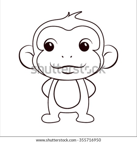 coloring book with monkey vector illustration