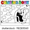 Coloring book with mouse 3 - vector illustration. - stock photo