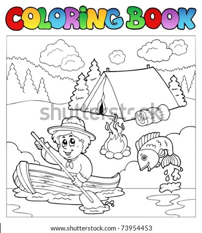 Coloring book with scout in boat - vector illustration. - stock vector