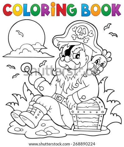 Coloring book with sitting pirate - eps10 vector illustration. - stock vector
