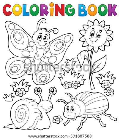 coloring book with small animals 3 eps10 vector illustration - Coloring Book Animals