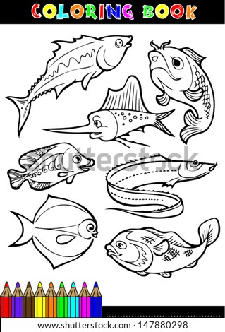 Coloring books or coloring page cartoon illustration of a black and white fish. - stock vector