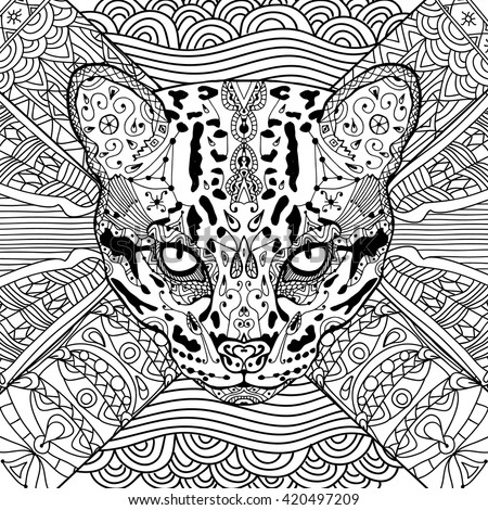 coloring cat book for adults wild cat on the background patterns coloring book