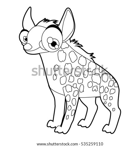 coloring cute cartoon animals collection cool funny illustration of hyena