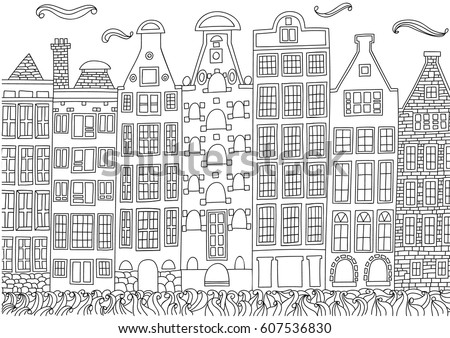 Coloring For Adult With Amsterdam Netherlands Page In Line Style European Landscapes