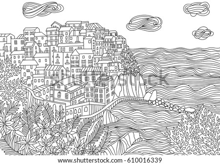Coloring for adult with monterosso al mare italy coloring page in line style