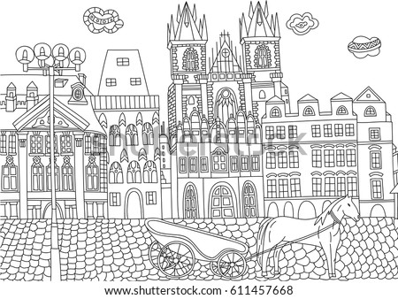 Coloring For Adult With Prague Czech Republic Page In Line Style European