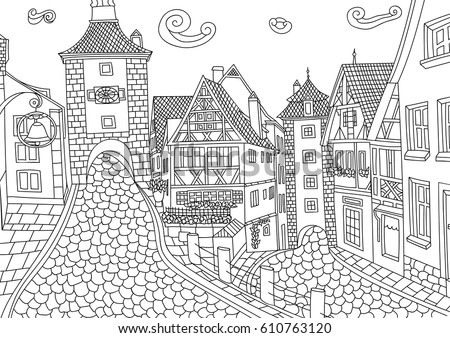 Coloring Adult Rothenburg Ob Der Tauber Stock Vector HD Royalty