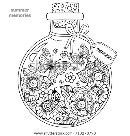 coloring for adults vector coloring book for adults a glass vessel with memories of