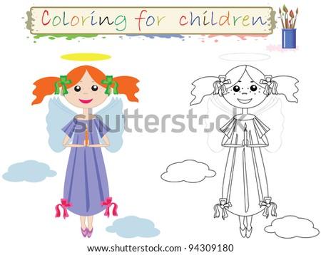 Coloring for children , funny  cute angel, vector.
