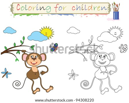 Coloring for children , funny  cute monkey, vector.