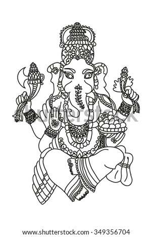 coloring ganesha idol of wealth and fortune  - stock vector