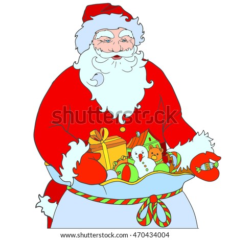 Coloring Grandfather Christmas hand out candy. Santa Claus with a bag of gifts. Hand drawn artwork.