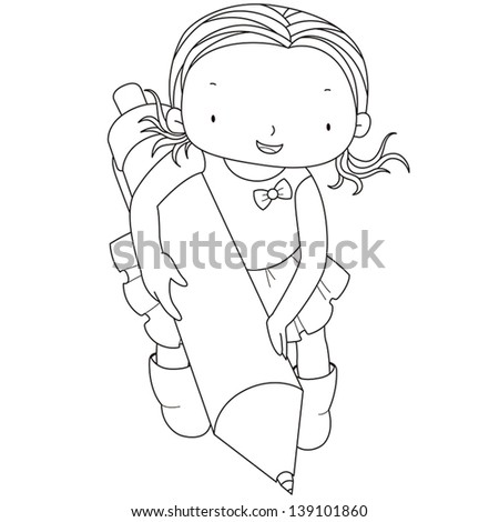 coloring illustration of a girl with ballpoint pen. - stock vector