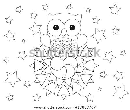 coloring page adult mandala owl animal