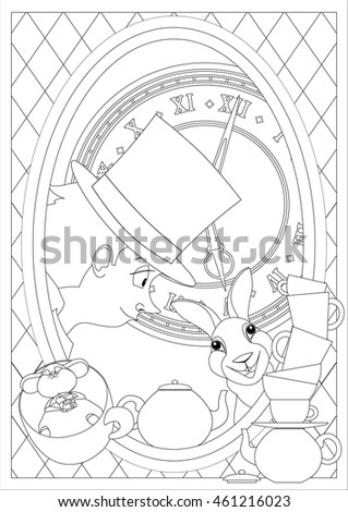 Coloring Page Alice Wonderland Mad Tea Vector de stock461216023 ...