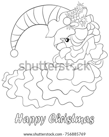coloring pagebook for adult and children a santa claus with hat and beard for