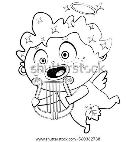 coloring page book for children and adults cupid with a harp vector cartoon illustration