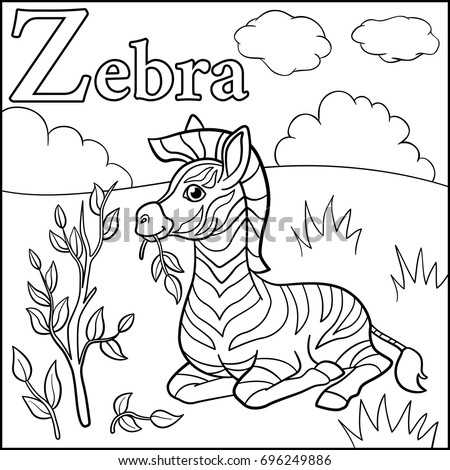 Coloring Page Cartoon Animals Alphabet Z Is For Zebra