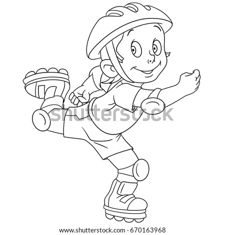 Coloring Page Cartoon Boy Roller Skating Vector Illustration For Kids And Children