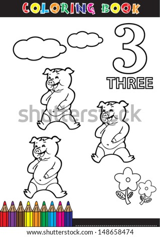 Coloring page cartoon illustration of a Number. 3 with a circus for children's education and fun. - stock vector