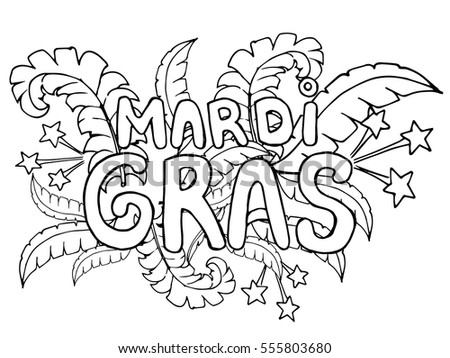 coloring page celebrate carnival mardi gras or shrove tuesday black and white vector illustration - Mardi Gras Coloring Pages