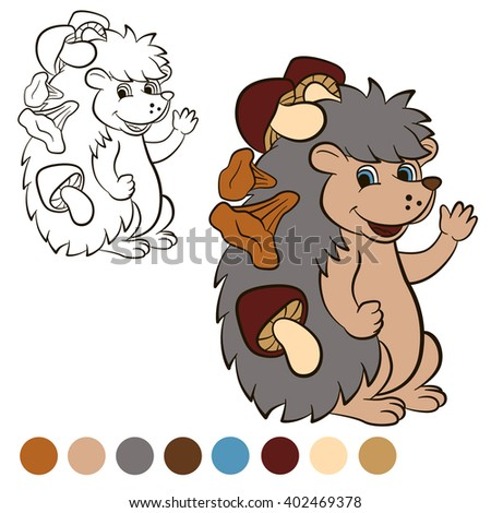 Coloring page. Color me: Hedgehog. Little cute hedgehog stands and smiles. He has a lot of mushrooms on his needles.