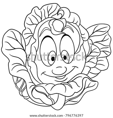 Lettuce Cartoon Stock Images Royalty Free Images Vectors Lettuce Coloring Page