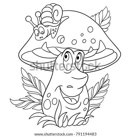 Coloring Page Book Cartoon Porcini And Snail Happy Mushroom Emoticon Smiley