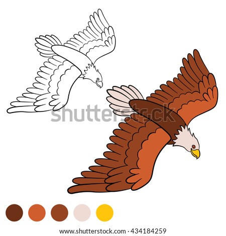 Coloring Page Cute Bald Eagle Flying And Smiling
