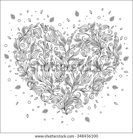 Coloring page flower heart St Valentine's day greeting card hand made print digital art. Coloring page with details isolated on white background . Doodle zentangle pattern for relax and meditation. - stock vector