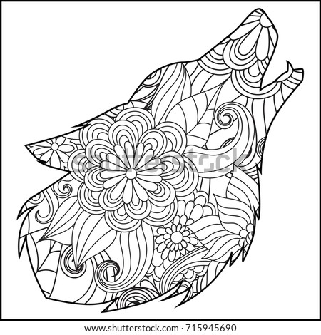 Coloring Page Flower Wolf Head Stock Vector HD (Royalty Free ...