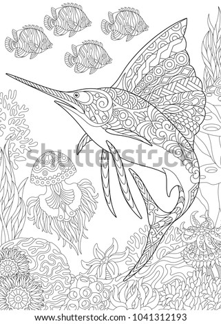Coloring Page Adult Colouring Book Underwater Stock Vector ...
