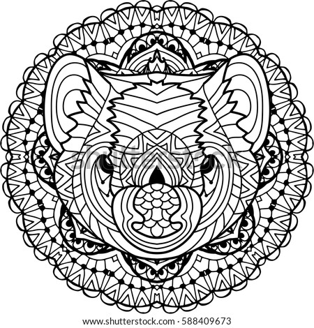 Coloring Page For Adults Australian Animal The Head Of A Tasmanian Devil With Patterns