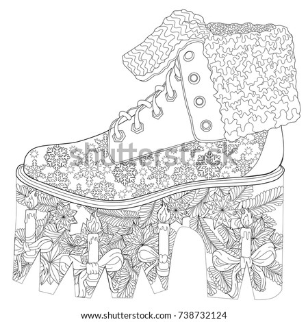Coloring Page For Adults Christmas Shoe Art Therapy Line Illustration