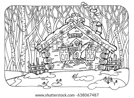 coloring page for adults; illustration of russian fairytale translation of the used russian word - hare