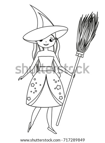 coloring page for children cute witch holding broom girl in halloween costume drawing - Halloween Drawing For Kids
