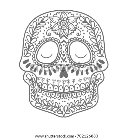 Coloring Page Children Day Dead Colorful Stock Vector 702126880