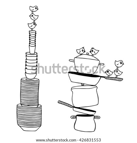 Coloring Page For Kids Birds On The Kitchen Plates Pots And Pans