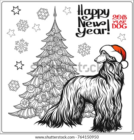 Coloring Page For With A Afghan Hound Dog In Red Santa Claus Hat And Scarf