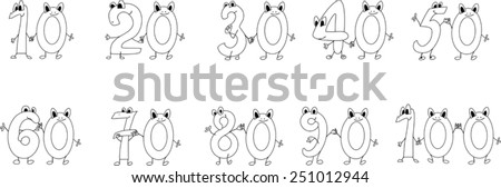 Coloring page funny numbers - stock vector