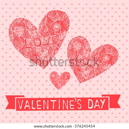 Cute Love Card Valentines Day Scrapbooking Vector 92698078 – Digital Valentine Card