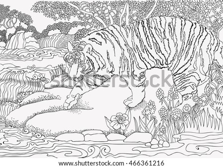 Coloring Page Jungle Africa TIGER