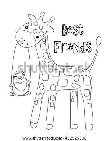 Coloring Page Little Cute Giraffe And His Friend Penguin Isolated On White Background For Kid Colouring