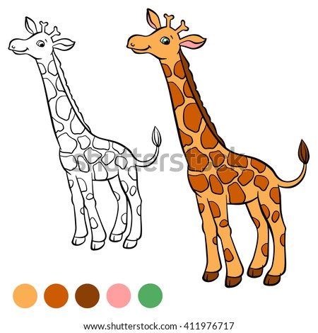 Coloring Page Little Cute Giraffe Stands And Smiles